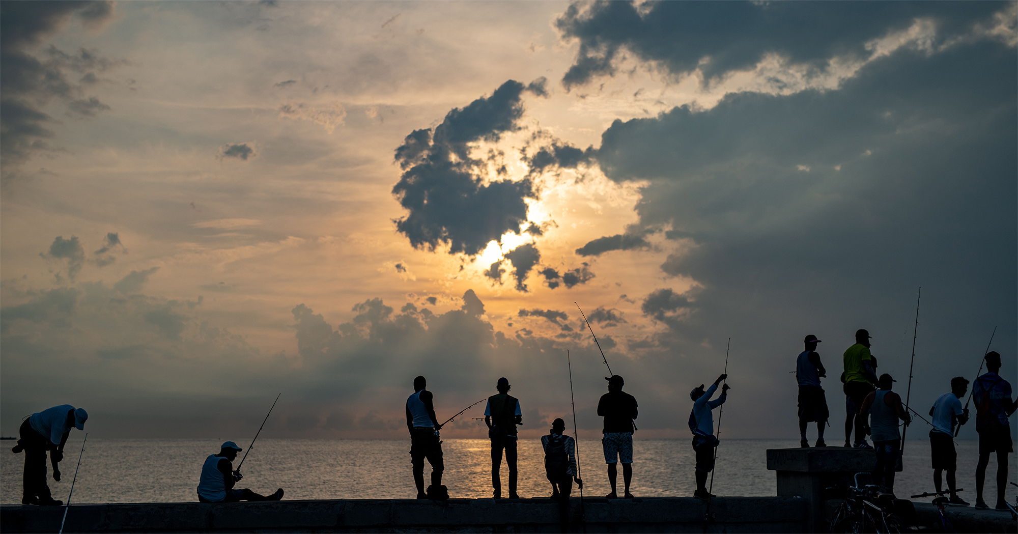 Every day fishers gather at the Castillo de San Salvador de la Punta to cast their lines.